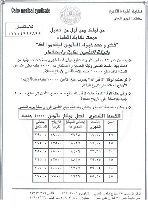 وثيقة الحماية و الإدخار الإستثمارية من نقابة أطباء القاهرة