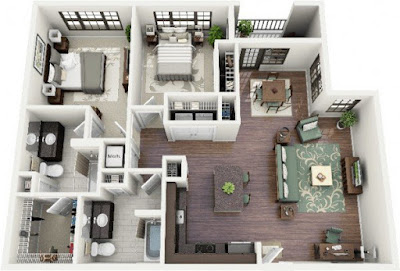2 bedroom floor plans with L-shaped kitchen