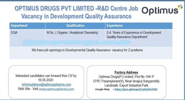 Optimus Drugs Pvt.Ltd. Vacancy in Development Quality Assurance Send Resume
