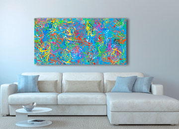 abstract art, contemporary, modern, swirls, digital painting, canvas art, wall art, Sam Freek, squggles, multi coloured,
