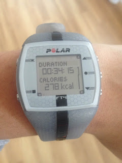 This Polar watch tracks my heart rate and calories when exercising