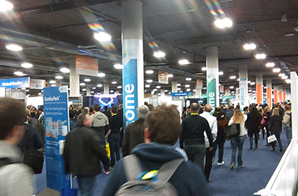 Crowded tech displays at the Consumer Electronics Show