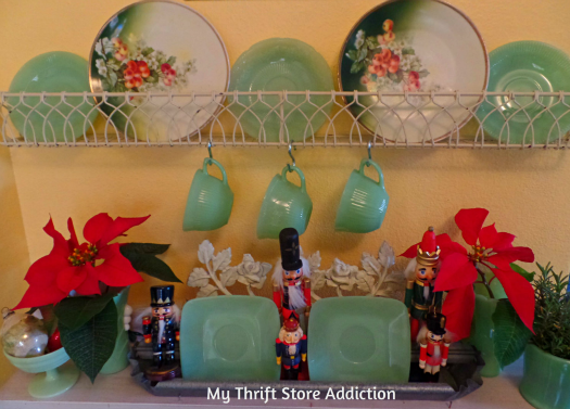 Creating Christmas: A Very Thrifty Christmas mythriftstoreaddiction.blogspot.com Vintage jadeite collection and nutcracker display