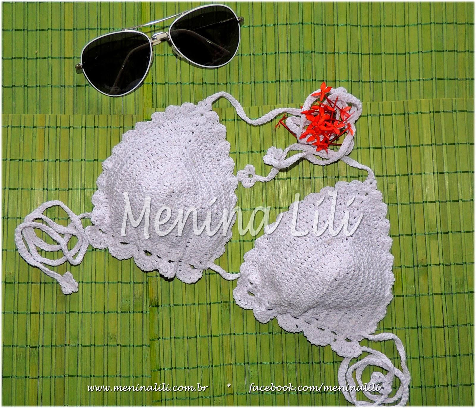 251a6f25b Menina Lili Croche: Biquini de Crochê (parte de cima) Branco