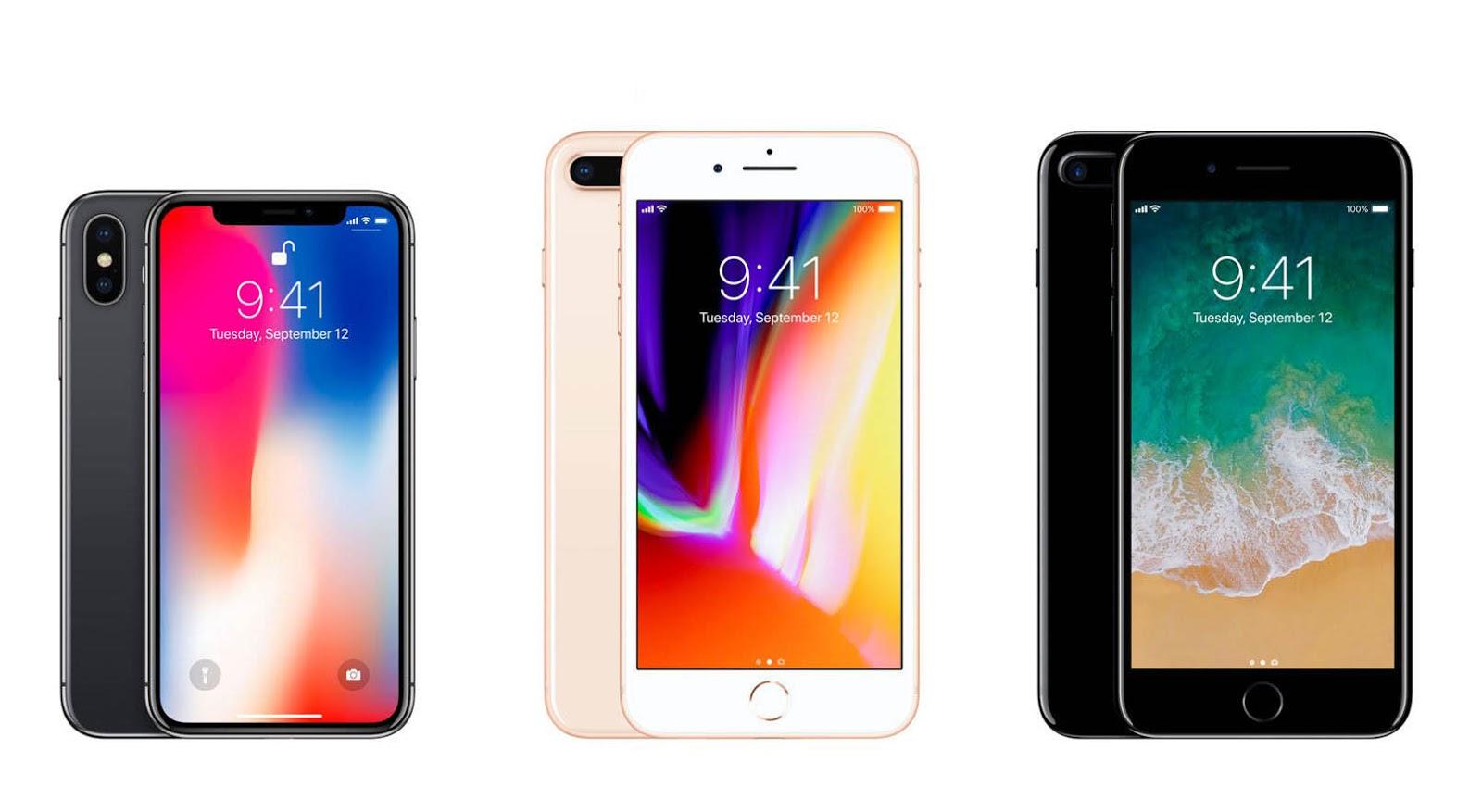 Bảng so sánh cấu hình của iphone 7, iphone 7 plus, iphone 8, iphone plus và iphone X