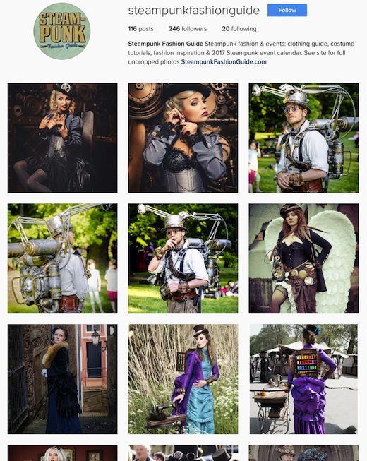 Steampunk Fashion Guide on social media, including instagram. Follow us!