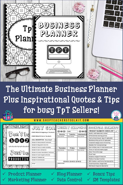 "Photo of planner with text ""The Ultimate Planner for busy TpT sellers"""