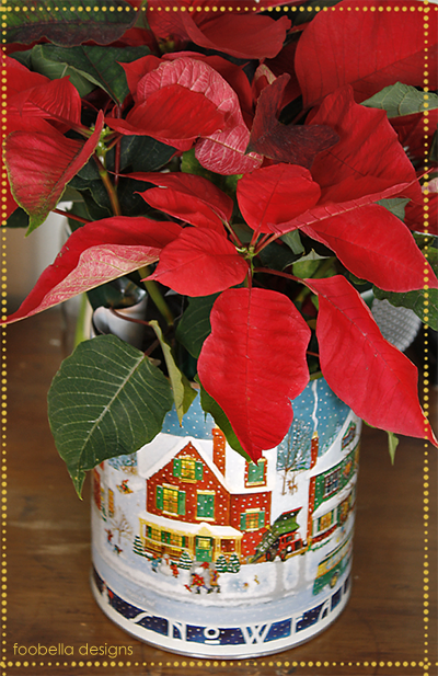 Poinsettias in a Christmas Tin via www.foobella.blogspot.com