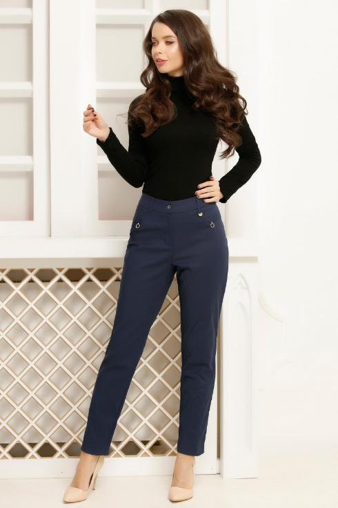 Pantaloni bleumarin de si si de birou cu talie inalta pentru femei ieftini