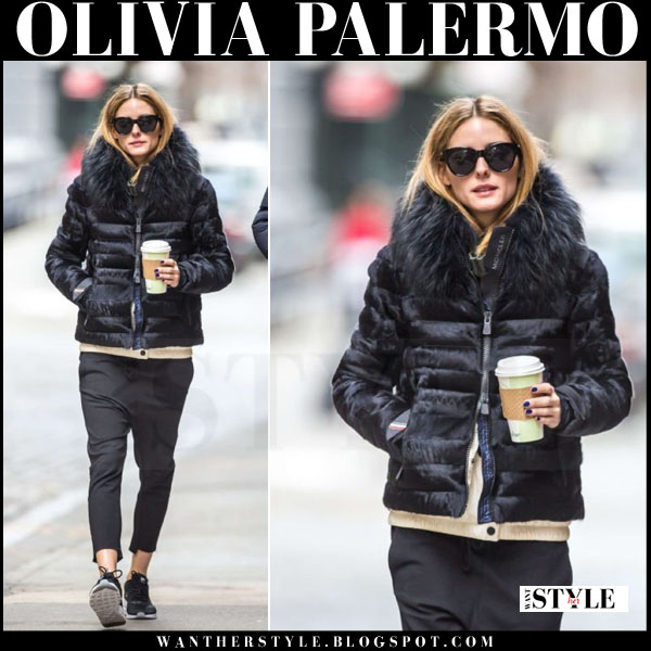 Olivia Palermo in blue puffer fur collar jacket moncler with le specs sunglasses what she wore