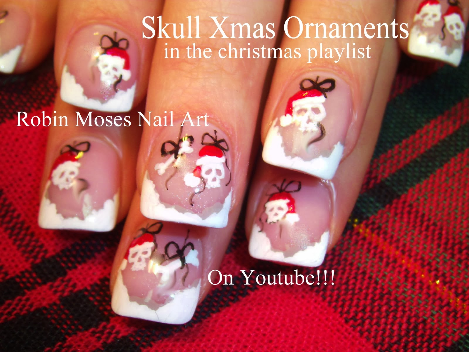 Christmas Nail Art Santa Skulls Skull Ornaments Santas Helpers Nails Easy Tree Snowflakes Snowflake Diva