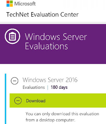 Windows Server 2016 no Evaluation Center da Technet