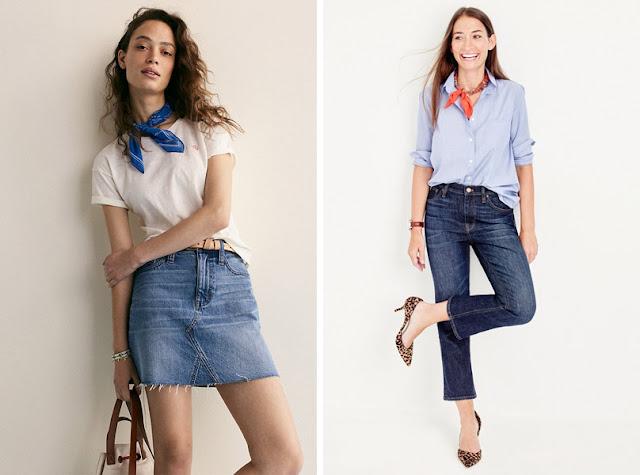 Девушки в джинсах и футболке с шейным платком
