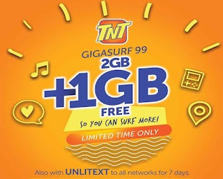 TNT GIGA99 – 3GB data and Unlimited Text to all Networks for 7 Days