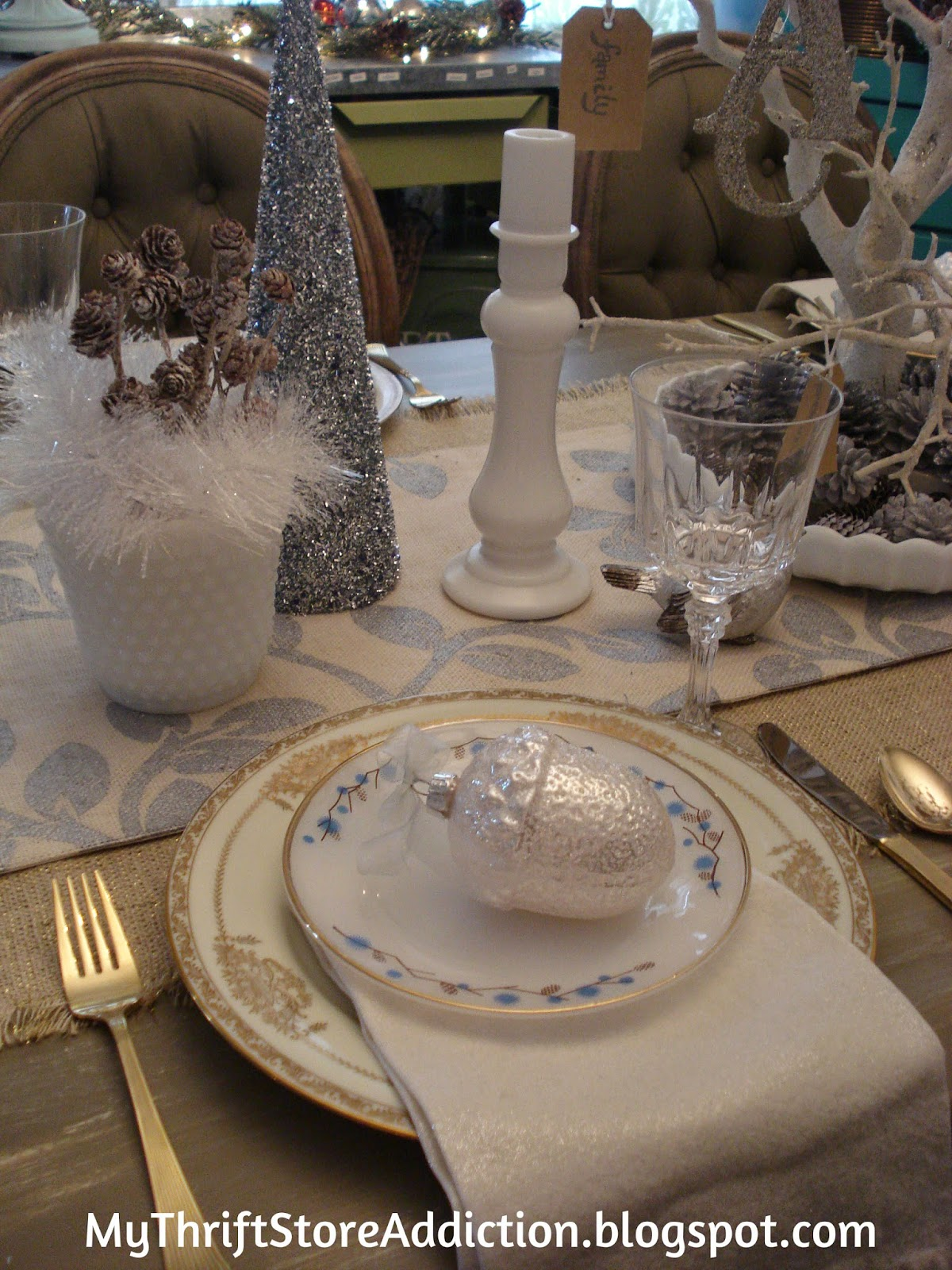 Whimsical Winter white tablescape