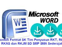 Contoh Format SK Tim Penyusun RKT, RKS, RKAS dan RKJM SD SMP SMA Sederajat