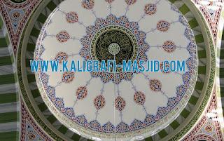 jasa kaligrafi masjid, kaligrafi kubah masjid, harga kaligrafi dinding masjid, cat wash awan