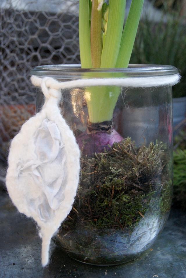 Silberblatt aus Filz als Dekoschnur ums Weckglas
