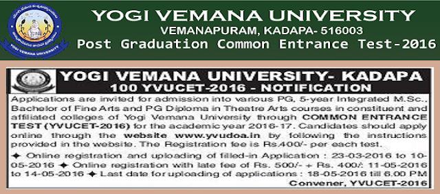 YVUCET,Yogi Vemana University,PG Entrance Test 2016