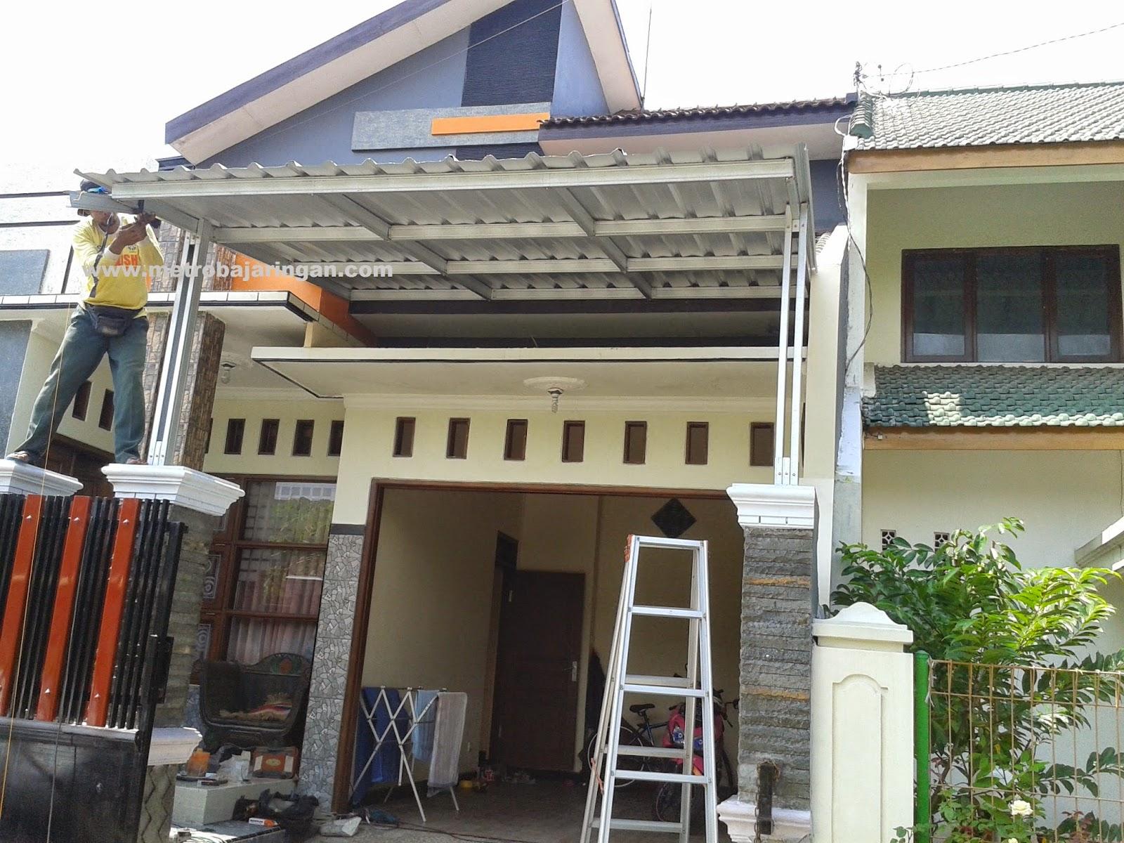 kanopi baja ringan tiang double canopy dengan rangka dan metro truss