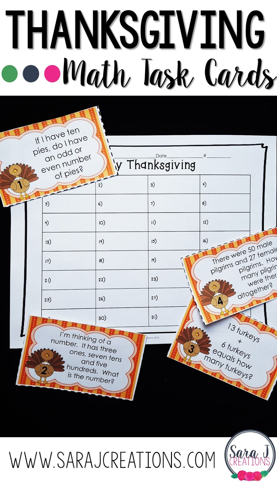 Thanksgiving themed printable math task cards a perfect for review in November.