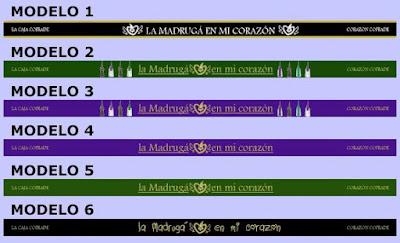 Pulseras cofrades bordadas realizadas por La Caja Cofrade y Corazón Cofrade con el apoyo de Al Cielo Cofrade para que los Cofrades y Hermandades apoyen la Semana Santa y la Madrugá