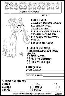 Projeto festa junina, atividades