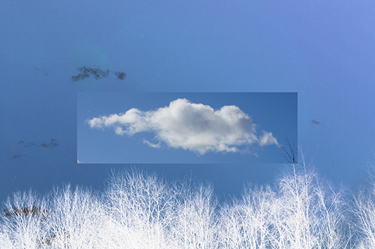 white cloud, blue sky, contemporary, modern, landscape, artist, art, Sam Freek,
