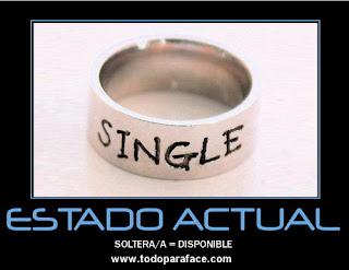 Estado: soltero / soltera = disponible, imagen para el muro de Facebook
