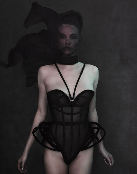 simone kerr in corsetorium sheer crini corset silk photograper benjamin kaufmann london bespoke luxury
