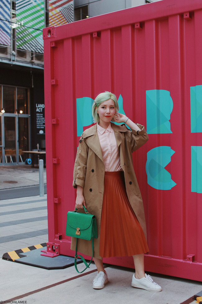 Japanese Fashion Blogger,MizuhoK,20190327OOTD, ZAFUL=trench coat, GU=pink shirt, Dresslily=pleated skirt and more...