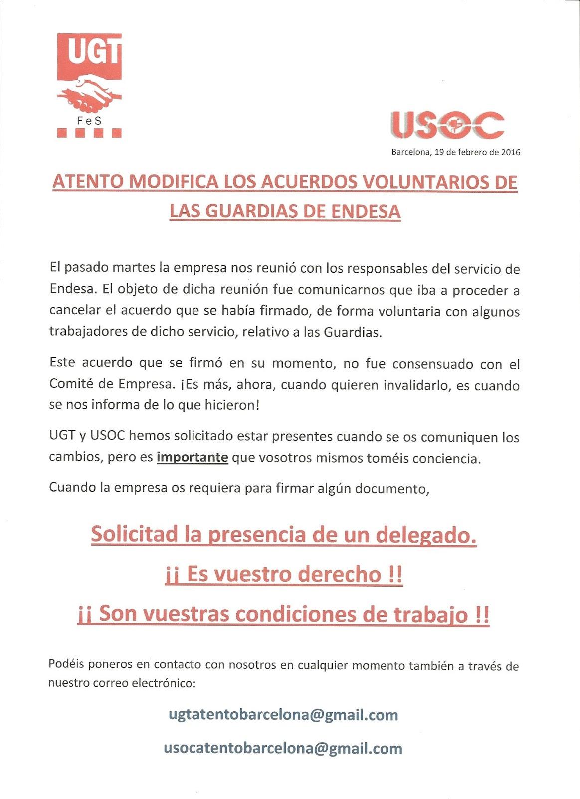 Ugt atento bcn endesa modificaciones en ret n - Oficinas de endesa en barcelona ...