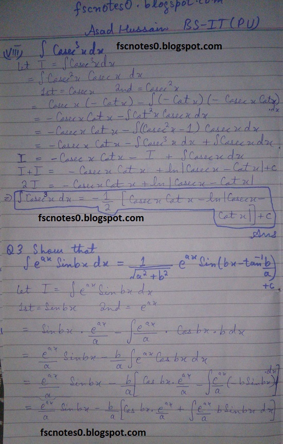 FSc ICS Notes Math Part 2 Chapter 3 Integration Exercise 3.4 Question 2 & 3 by Asad Hussain 5