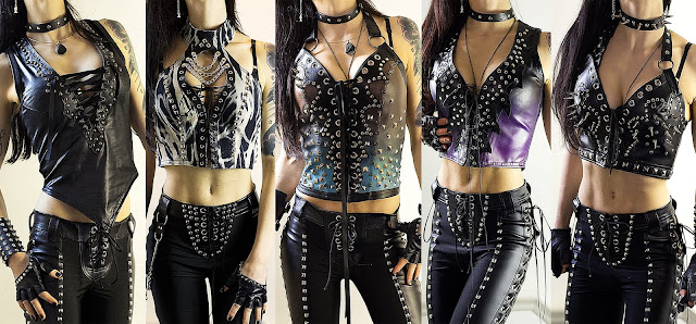 Heavy metal fashion including studded leather corsets & tops
