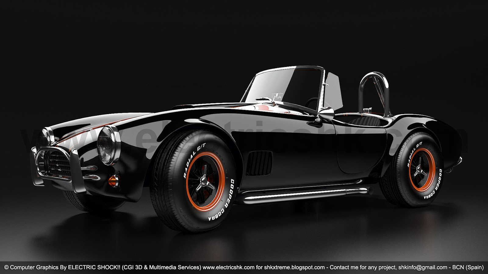 Shelby AC Cobra Black vista completa frontal lateral baja