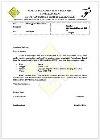 Contoh Surat Undangan Turnamen Sepak Bola