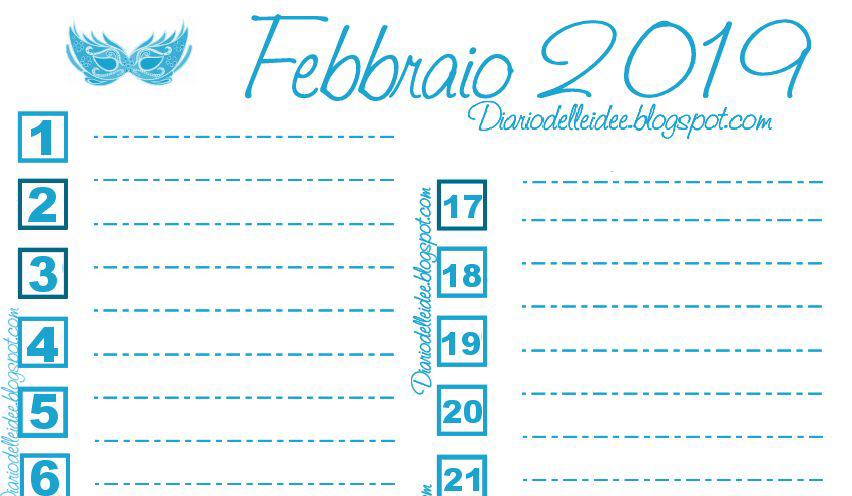 Calendario Da Scaricare.Diario Delle Idee Calendario Di Febbraio 2019