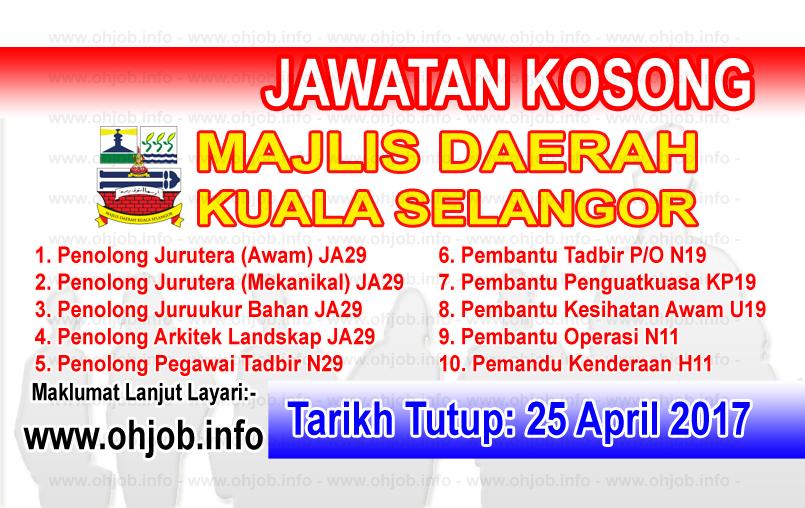 Jawatan Kerja Kosong MDKS - Majlis Daerah Kuala Selangor logo www.ohjob.info april 2017
