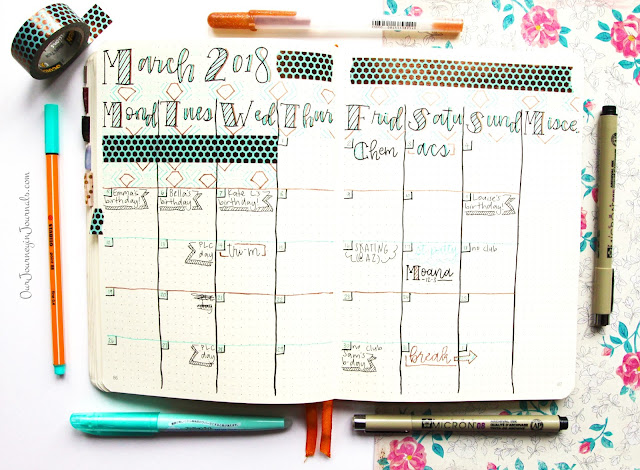 March 2018 bullet journal monthly setup
