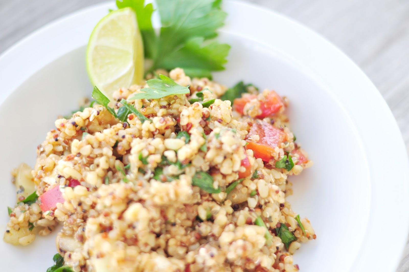 easy favorite salad idea with bulgur and quinoa