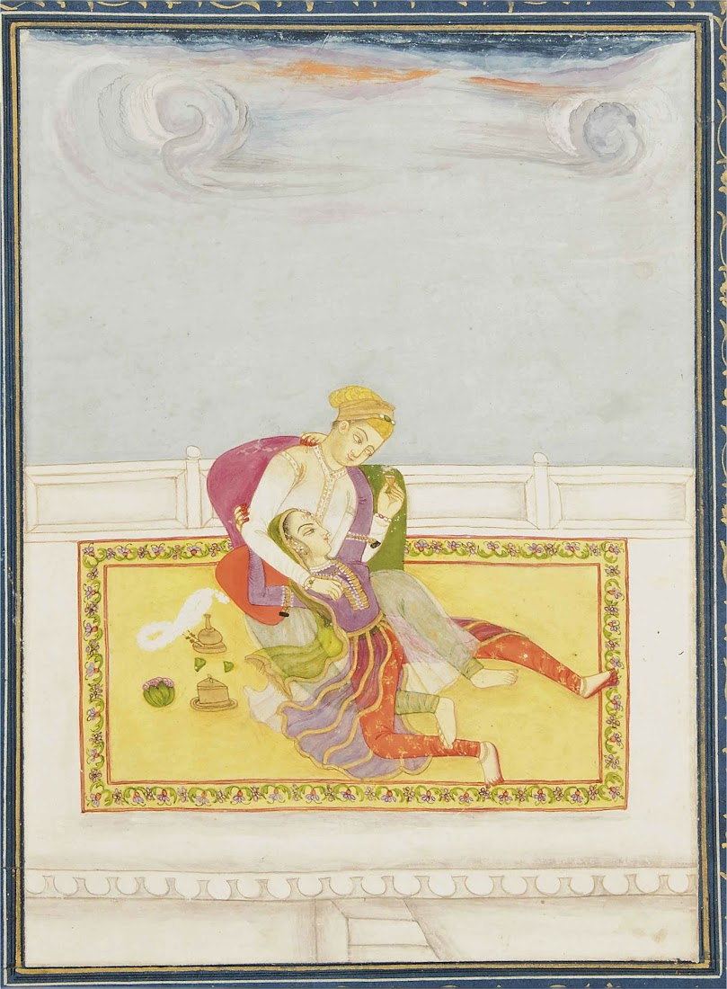 A Couple Embracing on a Terrace - India c1800