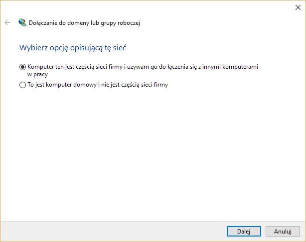 Przyłączanie komputera Windows 10 do domeny