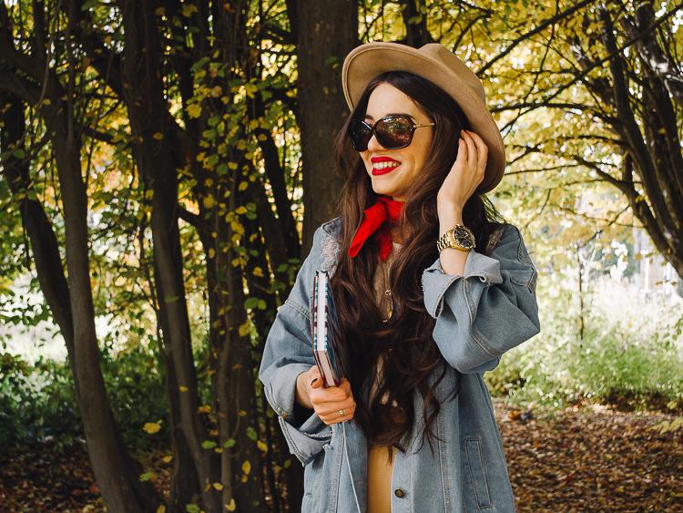 fashion blogger diyorasnotes autumn denim jacket midi skirt hat%2B%25287%2B%25D0%25B8%25D0%25B7%2B24%2529 - RED LIPS, BANDANA AND MIDI SKIRT