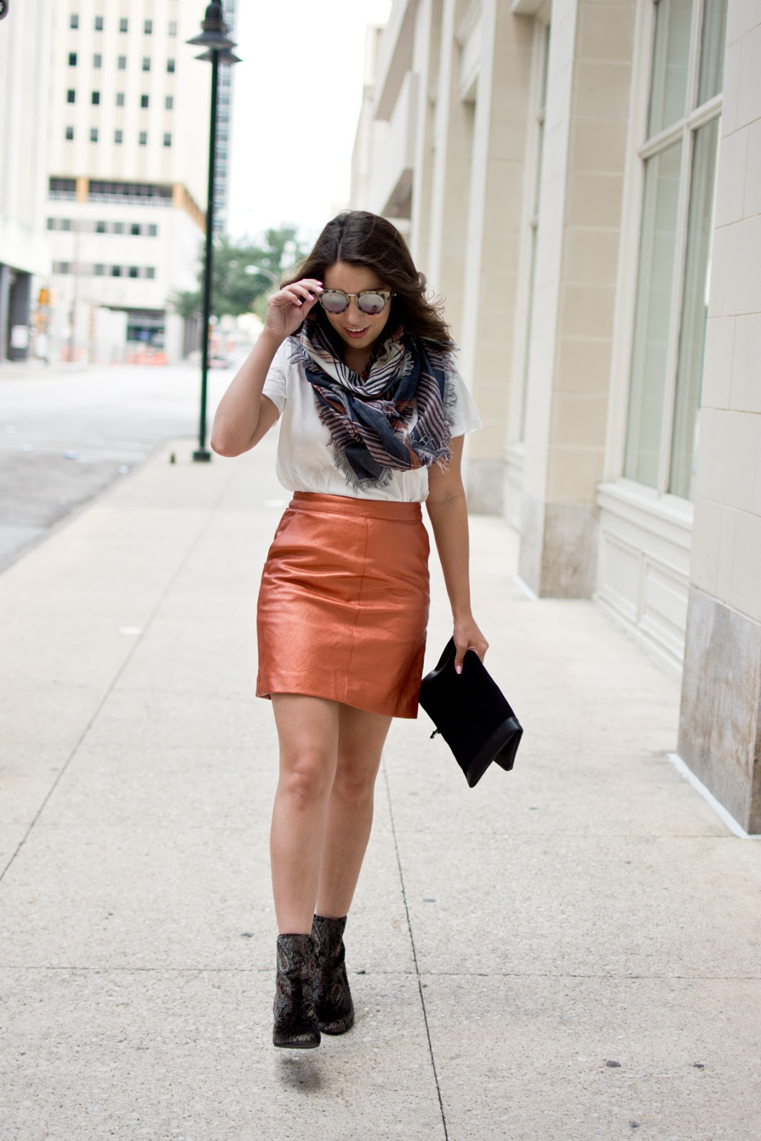 Nordstrom Anniversary Sale Outfit featuring Topshop Faux Leather Skirt, BP plaid Scarf, sole society clutch, velvet booties
