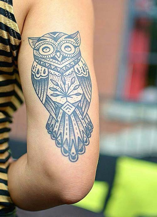 arm back owl tattoo kol arkası baykuş dövmesi