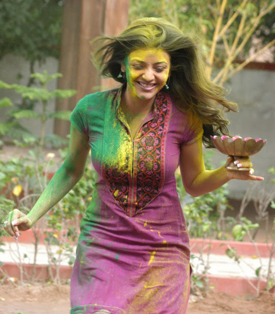 Bollywood Tollywood South Indian heroine Kajal Aggarwal holi Images from Tollywood movie.