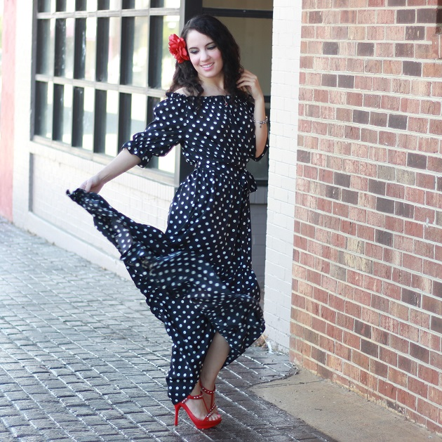 MakeMeChic Polka Dot Maxi Dress