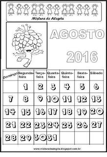Calendário de agosto para colorir