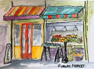 Urban watercolor sketch by Marion Corbin Mayer
