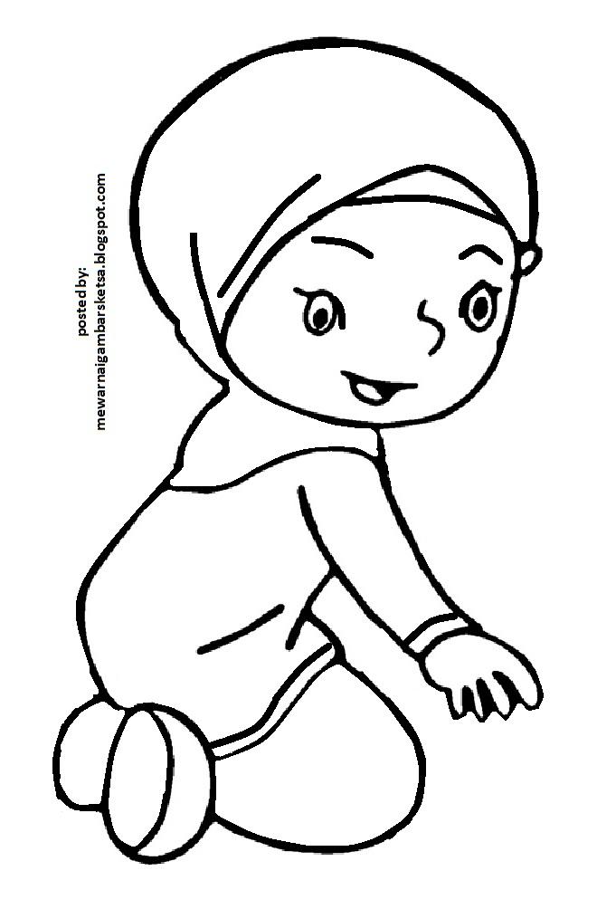 Mewarnai Gambar Mewarnai Gambar Sketsa Kartun Anak Muslimah 27